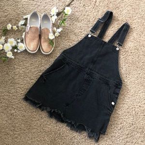Free people grey denim overall dress. Size 8!